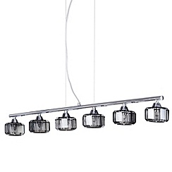 Litecraft - 6 Light Diner Ceiling Pendant - Smoke/Chrome