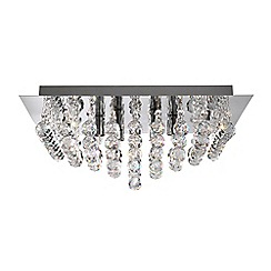 Litecraft - Galaxy Style 4 Light Square Flush Ceiling Light - Chrome