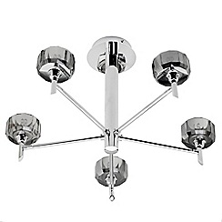 Litecraft - Prague 5 Light Semi Flush Ceiling Light - Smoked Grey