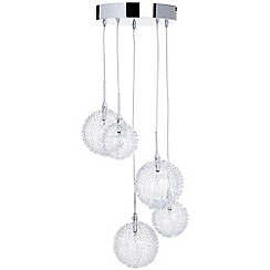 Litecraft - Allium 5 Light Wire Frame Ceiling Cluster Pendant - Chrome