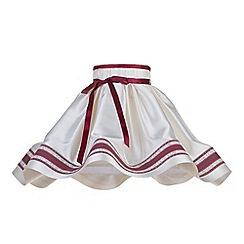 Litecraft - 18 Inch Skirt Easy to Fit Shade with Red Stripe & Bow - Cream