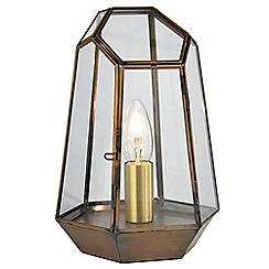 Litecraft - Terrarium Candle Lantern Table Lamp - Antique Brass