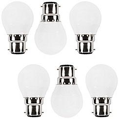 Litecraft - 6 Pack of 3.1 Watt B22 Bayonet Cap LED Golf Ball Light Bulb - Warm White