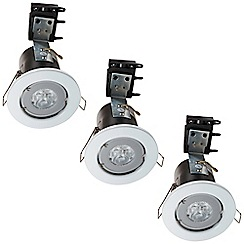 Litecraft - 3 Pack of IP20 Fire Rated Recessed Downlighters w/LED Bulbs - White