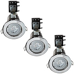 Litecraft - 3 Pack of IP20 Fire Rated Recessed Downlighters w/LED Bulbs - Chrome