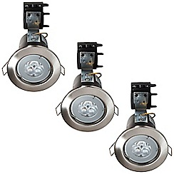 Litecraft - 3 Pack of IP20 Fire Rated Recessed Downlighters w/LED Bulbs - Satin Chrome