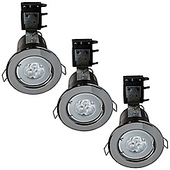 Litecraft - 3 Pack of IP20 Fire Rated Recessed Downlighters w/LED Bulbs - Black Chrome
