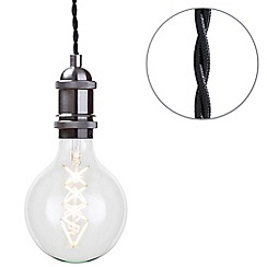 Litecraft - Cable Suspension Kit Ceiling Pendant with Globe LED Filament Bulb - Pewter