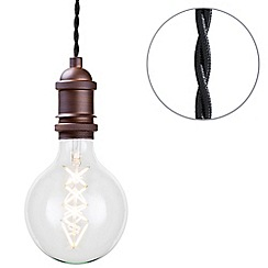 Litecraft - Cable Suspension Kit Ceiling Pendant with Globe LED Filament Bulb - Antique Bronze