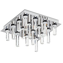 Litecraft - Fall 16 Light Square Glass Prism LED Flush Ceiling Light - Chrome