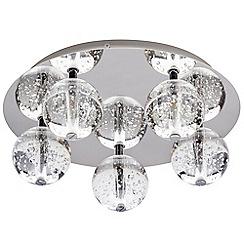 Litecraft - Droplet 5 Light Clear Glass Ball Flush Ceiling Light - Chrome