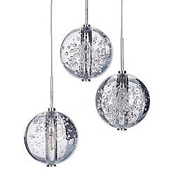 Litecraft - Droplet 3 Light Clear Glass Ball Pendant Ceiling Light - Steel