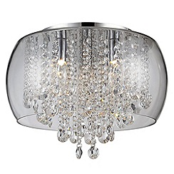 Litecraft - Marquis by Waterford - Nore Small Encased Flush Bathroom Ceiling Light - Chrome & Glass