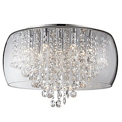 Litecraft - Marquis by Waterford - Nore LED Large Encased Flush Bathroom Ceiling Light - Chrome & Glass