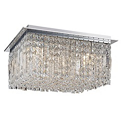Litecraft - Marquis by Waterford - Fane LED Large Square Flush Bathroom Ceiling Light - Chrome