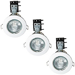 Litecraft - 3 Pack of IP20 Fire Rated Recessed Downlighters w/Halogen Bulbs - White