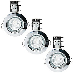 Litecraft - 3 Pack of IP20 Fire Rated Recessed Downlighters w/Halogen Bulbs - Chrome