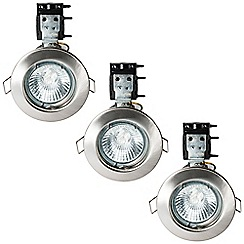 Litecraft - 3 Pack of IP20 Fire Rated Recessed Downlighters w/Halogen Bulbs - Satin Chrome