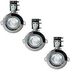 Litecraft - 3 Pack of IP20 Fire Rated Recessed Downlighters w/Halogen Bulbs - Black Chrome