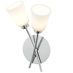 Litecraft - 2 Light Bathroom Wall Light with Frosted Glass Shades - Chrome