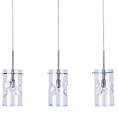 Litecraft - Perla 3 Light Petroleum Tinted Glass Ceiling Pendant - Chrome