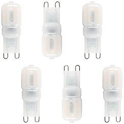 Litecraft - 6 Pack of 2.5 Watt LED G9 Capsule Light Bulb - Cool White