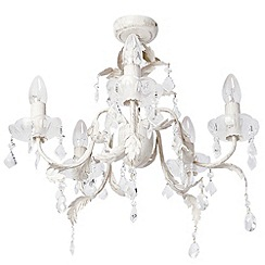 Litecraft - Romeo 5 Light Chandelier - Cream & Gold
