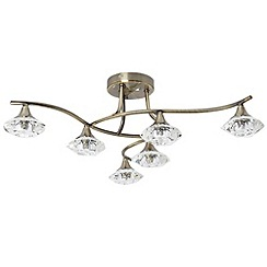Litecraft - 6 Light Flush Ceiling Light - Bronze