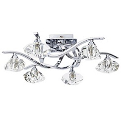 Litecraft - 6 Light Flush Curved Arm Ceiling Light - Chrome