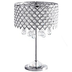 Litecraft - 1 Light Lattice Shade Table Lamp with Glass Droplets - Chrome