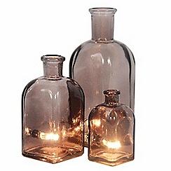 Litecraft - 3 Light Vintage Glass Bottle Table Lamps - Smoke