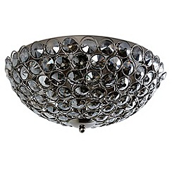 Litecraft - 3 Light Glass Mesh Flush Ceiling Light - Smoke