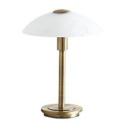 Litecraft - 1 Light Table Lamp with Alabaster Glass Dome Shade - Antique Brass