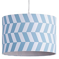 Litecraft - 30cm Geometric Drum Easy to Fit Ceiling or Lamp Shade - Blue & White