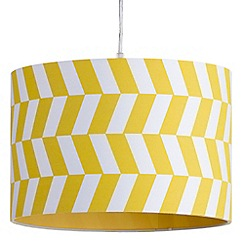 Litecraft - 30cm Geometric Drum Easy to Fit Ceiling or Lamp Shade - Yellow & White