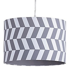 Litecraft - 30cm Geometric Drum Easy to Fit Ceiling or Lamp Shade - Grey & White