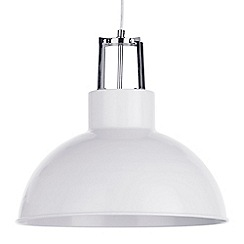 Litecraft - 1 Light Industrial Parabolic Ceiling Pendant - White
