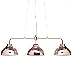 Litecraft - Brooklyn 3 Light Industrial Ceiling Pendant Bar - Rose Gold