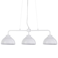 Litecraft - Brooklyn 3 Light Industrial Ceiling Pendant Bar - White