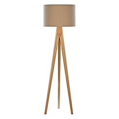 Litecraft - 1 Light Wooden Tripod Floor Lamp with Latte Coloured Shade - Wood
