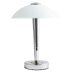 Litecraft - 1 Light Table Touch Lamp with Alabaster Glass Dome Shade - Chrome