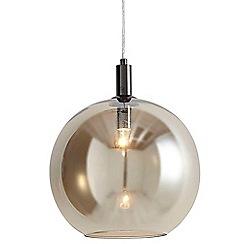Litecraft - 1 Light Globe Glass Ceiling Pendant - Black Nickel