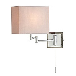 Litecraft - 1 Light Swing Arm Wall Light with Cube Shade - Chrome