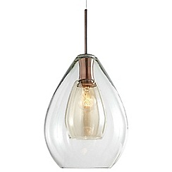 Litecraft - 1 Light Glass Shade Ceiling Pendant with Smoked Glass Inner Shade - Copper