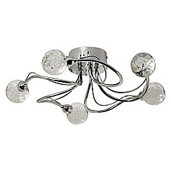 Litecraft - 5 Light Curl Semi Flush Ceiling Light with Bubble Glass Shades - Chrome