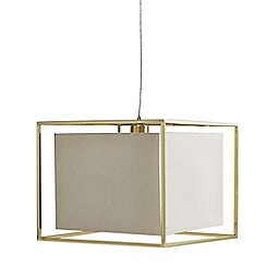 Litecraft - 1 Light Frame Ceiling Pendant with Cube Shade - Brass