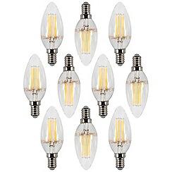 Litecraft - 10 Pack of 4 Watt LED Filament Candle Day Light E14 Small Edison Screw Bulb - Cool White