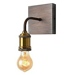 Litecraft - 1 Light Vintage Style Brass and Wood Wall Light - Wood