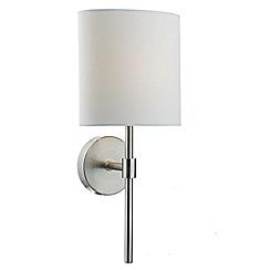 Litecraft - 1 Light Modern Wall Light with White Fabric Shade - Satin Chrome