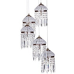 Litecraft - 5 Light Vintage Style Cluster Ceiling Pendant - Antique Brass